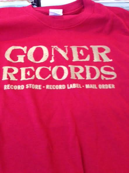 Goner Records T-Shirt Gold on Red Men's M - Free US Ship!