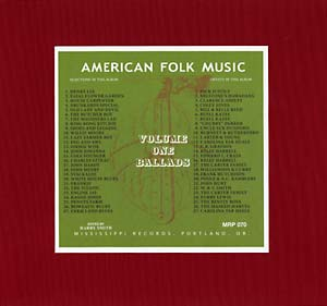 Anthology of American Folk Music Volume 1 lp (Mississippi)