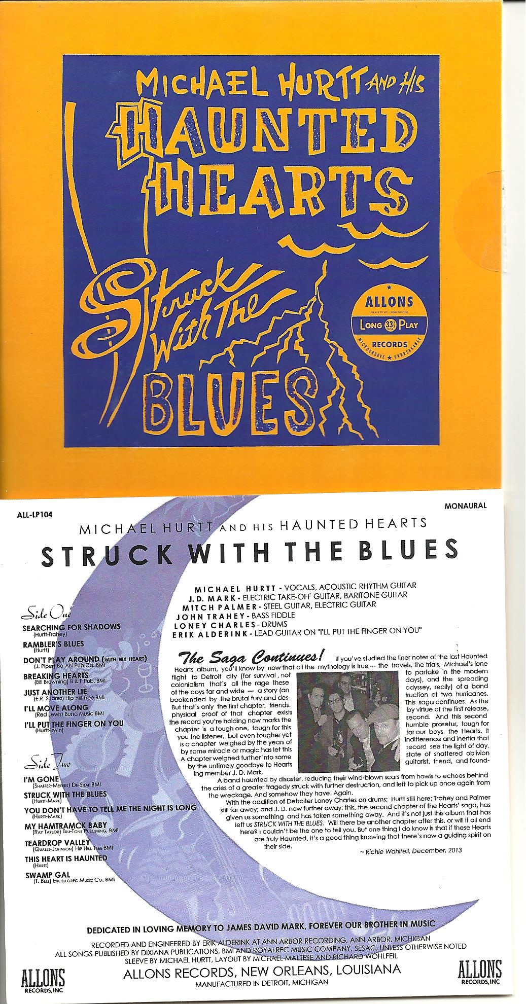 Michael Hurtt/Haunted Hearts - Struck With The Blues cd (Allons)