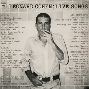 Leonard Cohen - Live Songs lp (Sundazed)