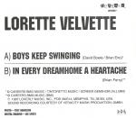 "Lorette Velvette - Boys Keep Swinging 7"" (Loverly Records)"