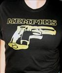 Memphis Gun T-shirt Blue on Black size S- Free US Shipping!