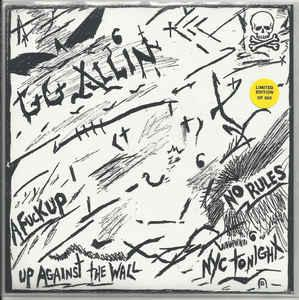 "GG Allin - No Rules 7"" (Orange Records)"